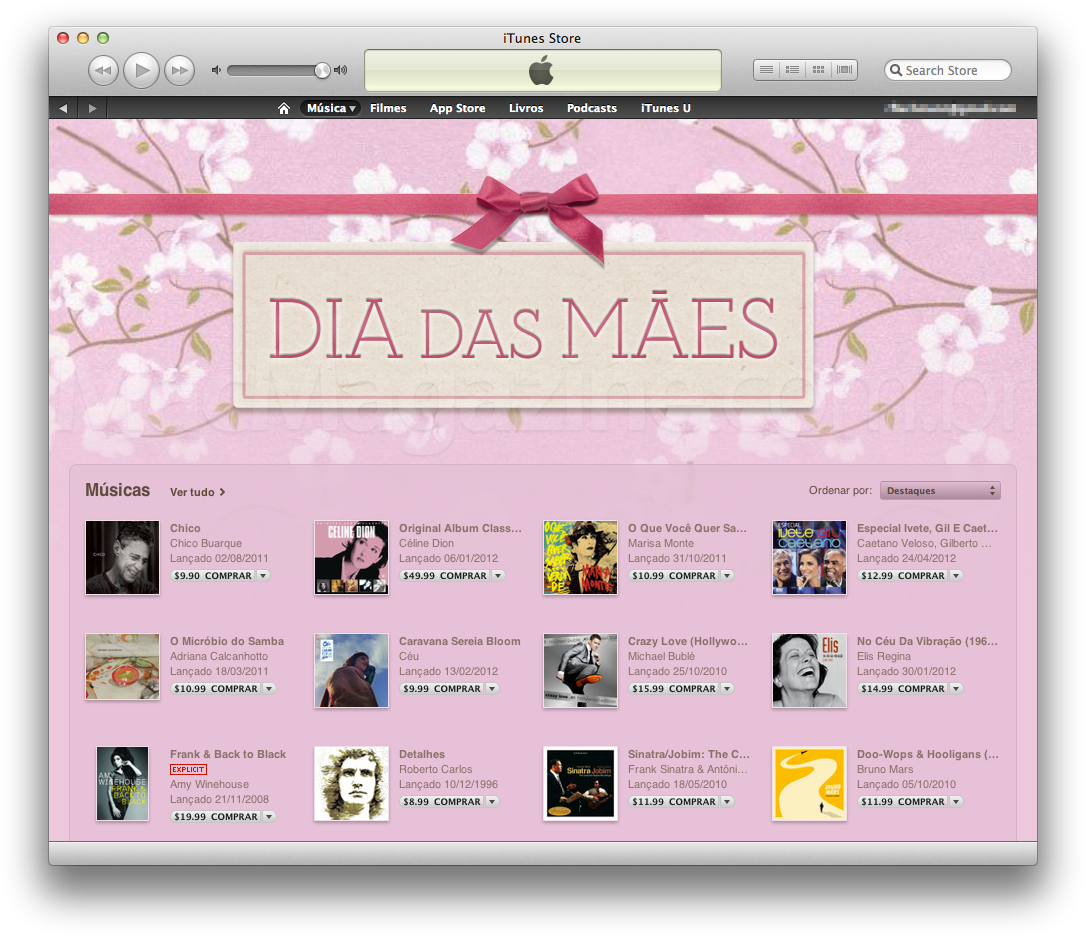 Dia das Mães na iTunes Store