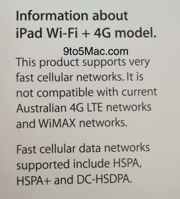 Aviso das revendas Apple - Novo iPad não funciona em redes 4G australianas