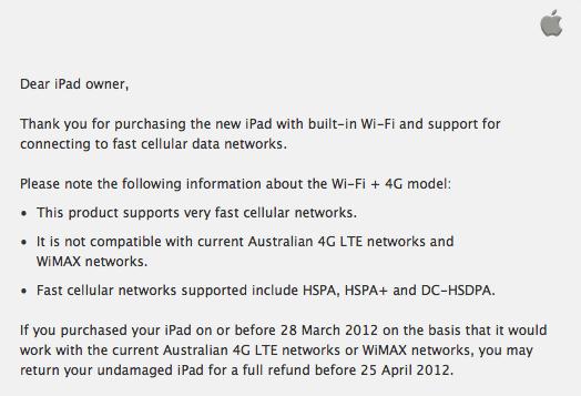 Email para clientes australianos sobre reembolso do novo iPad