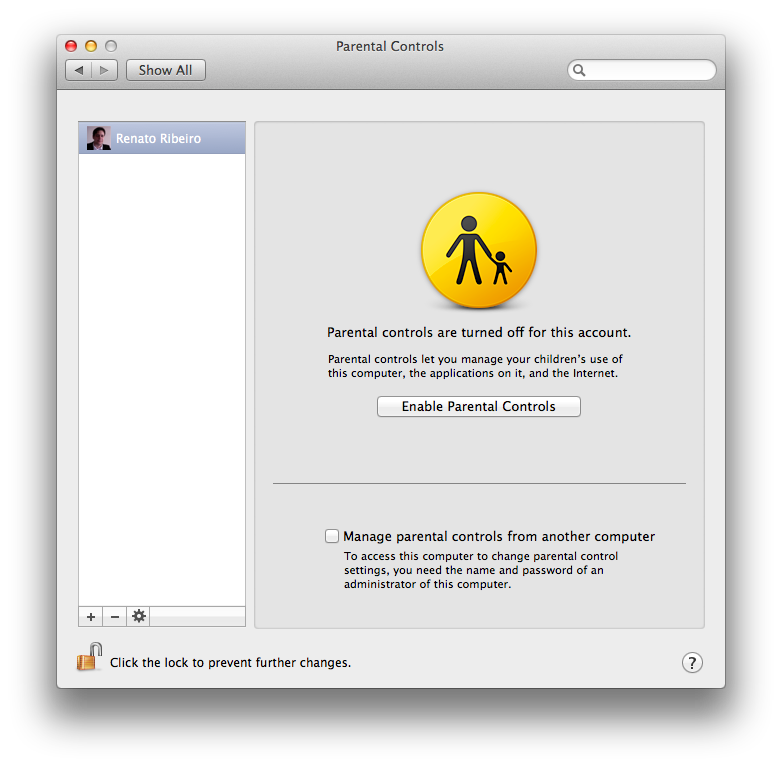 Parental Controls do Mac OS X