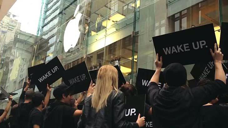 Ação WAKE UP na Apple Store de Sydney