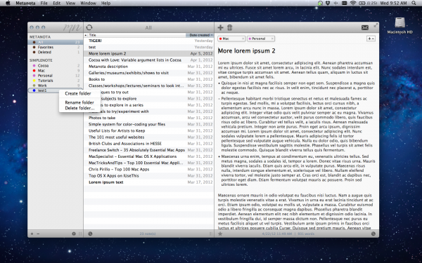 Metanota - Mac OS X