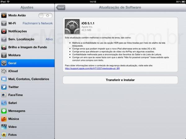 iOS 5.1.1 no iPad