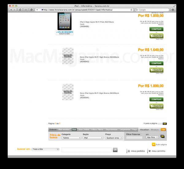 Novo iPad na Saraiva