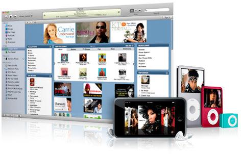 Antiga imagem de iPods e da iTunes Store