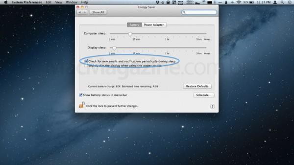 Mountain Lion checando emails e notificações em modo sleep