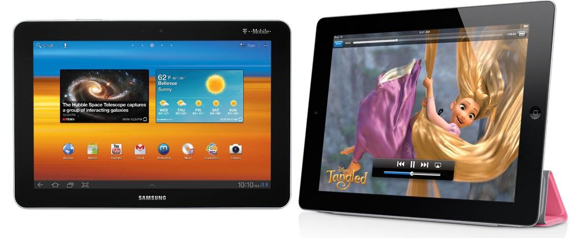 Samsung Galaxy Tab e iPad