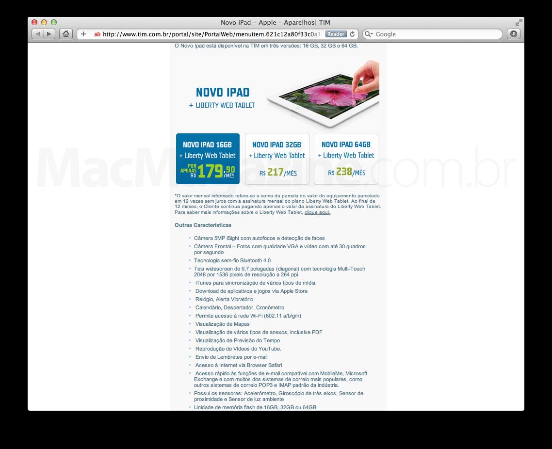 Preços da TIM para o novo iPad