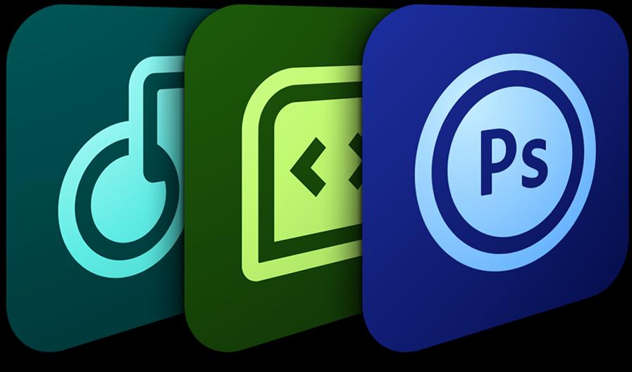 Ícones Adobe - Photoshop Touch, Proto e Collage