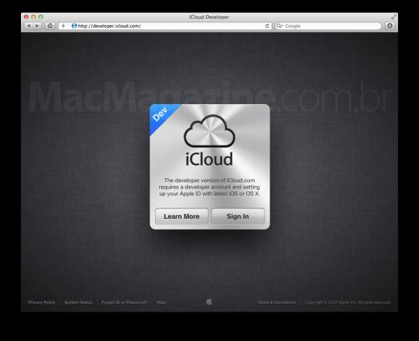 Página do iCloud para desenvolvedores