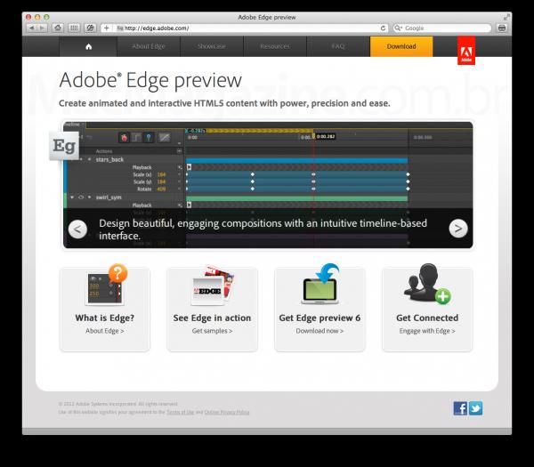 Hotsite do Adobe Edge