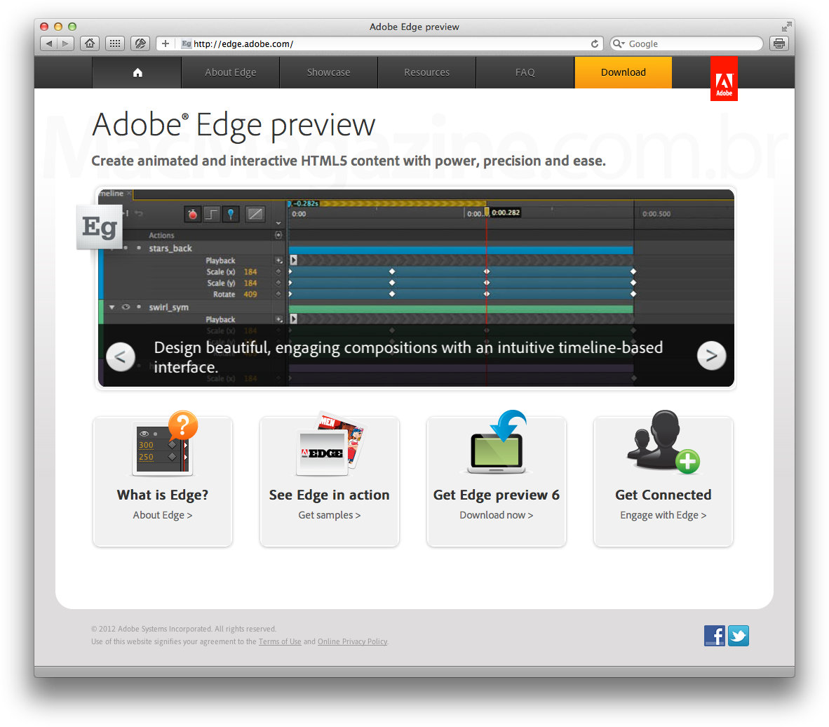 Hotsite do Adobe Edge