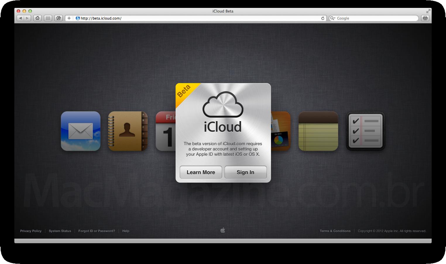 Página beta do iCloud.com