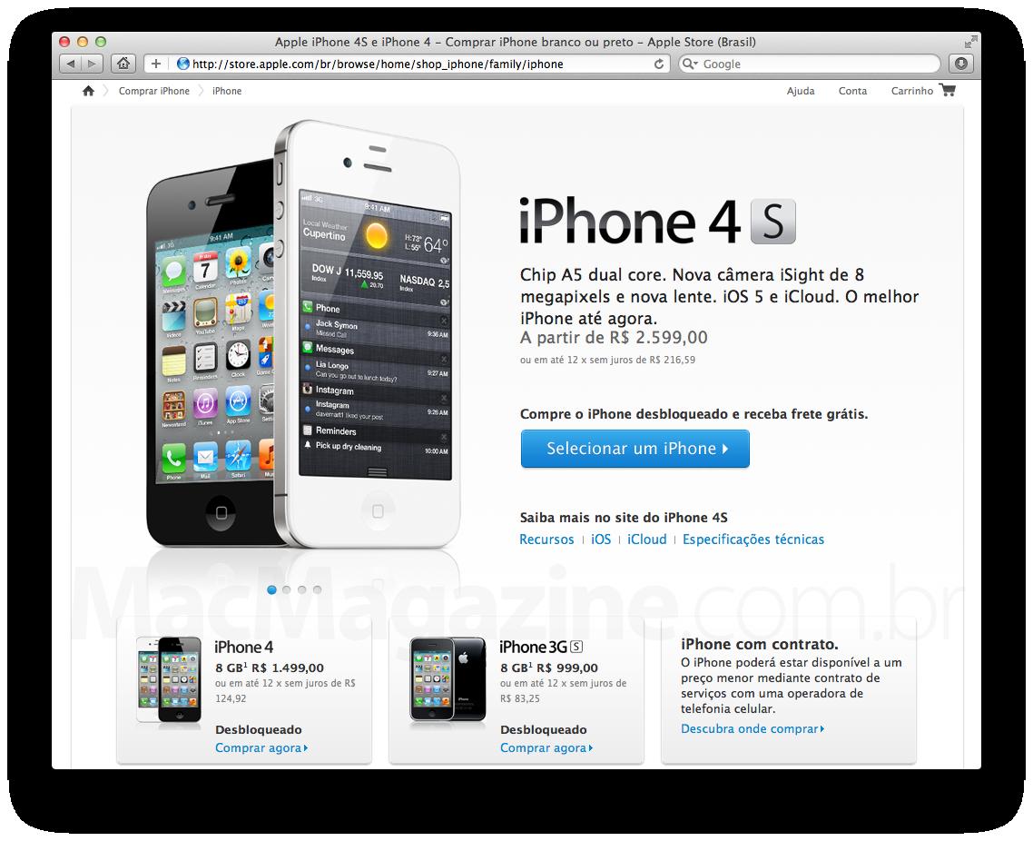 Preços dos iPhones 4 e 3GS na Apple Online Store