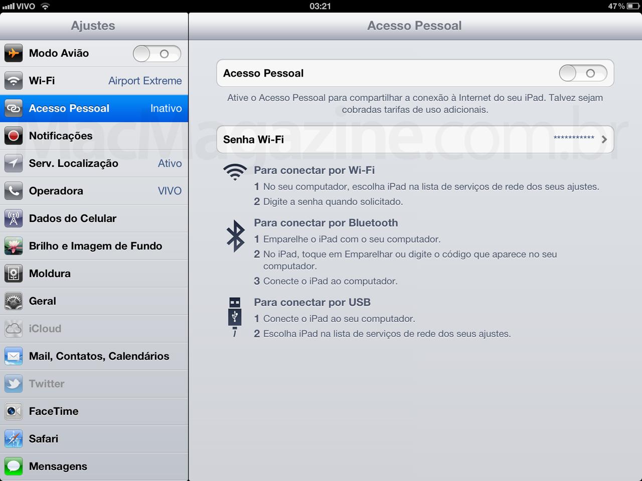 Acesso Pessoal no novo iPad, via Vivo