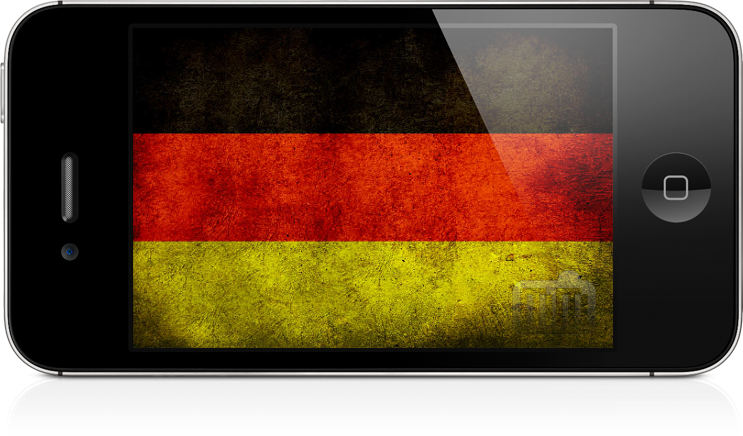 Bandeira da Alemanha em um iPhone 4S