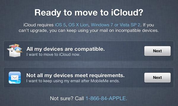 Página de transição do MobileMe para o iCloud