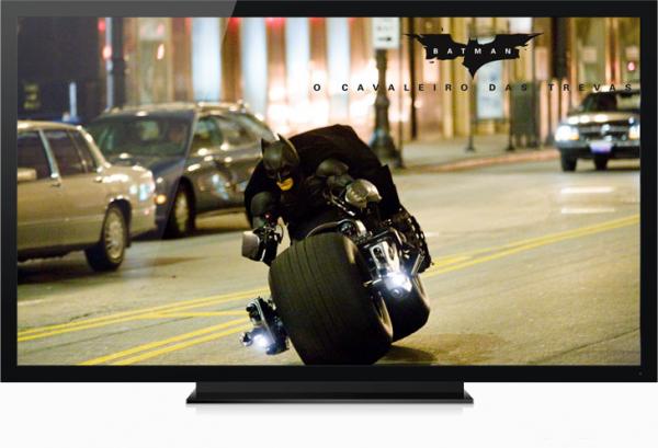 Televisor passando filme do Batman
