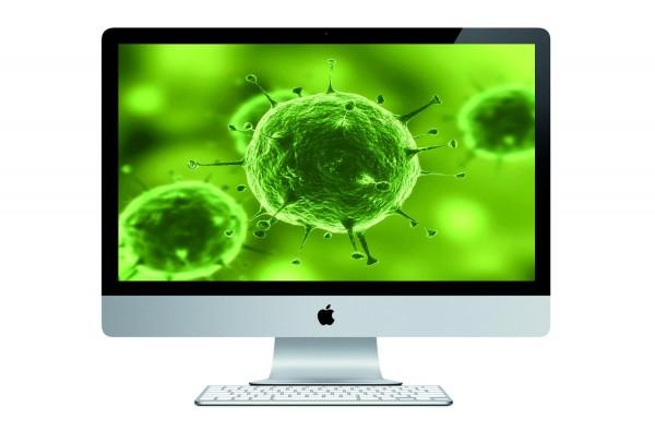Representação de vírus em uma tela de iMac