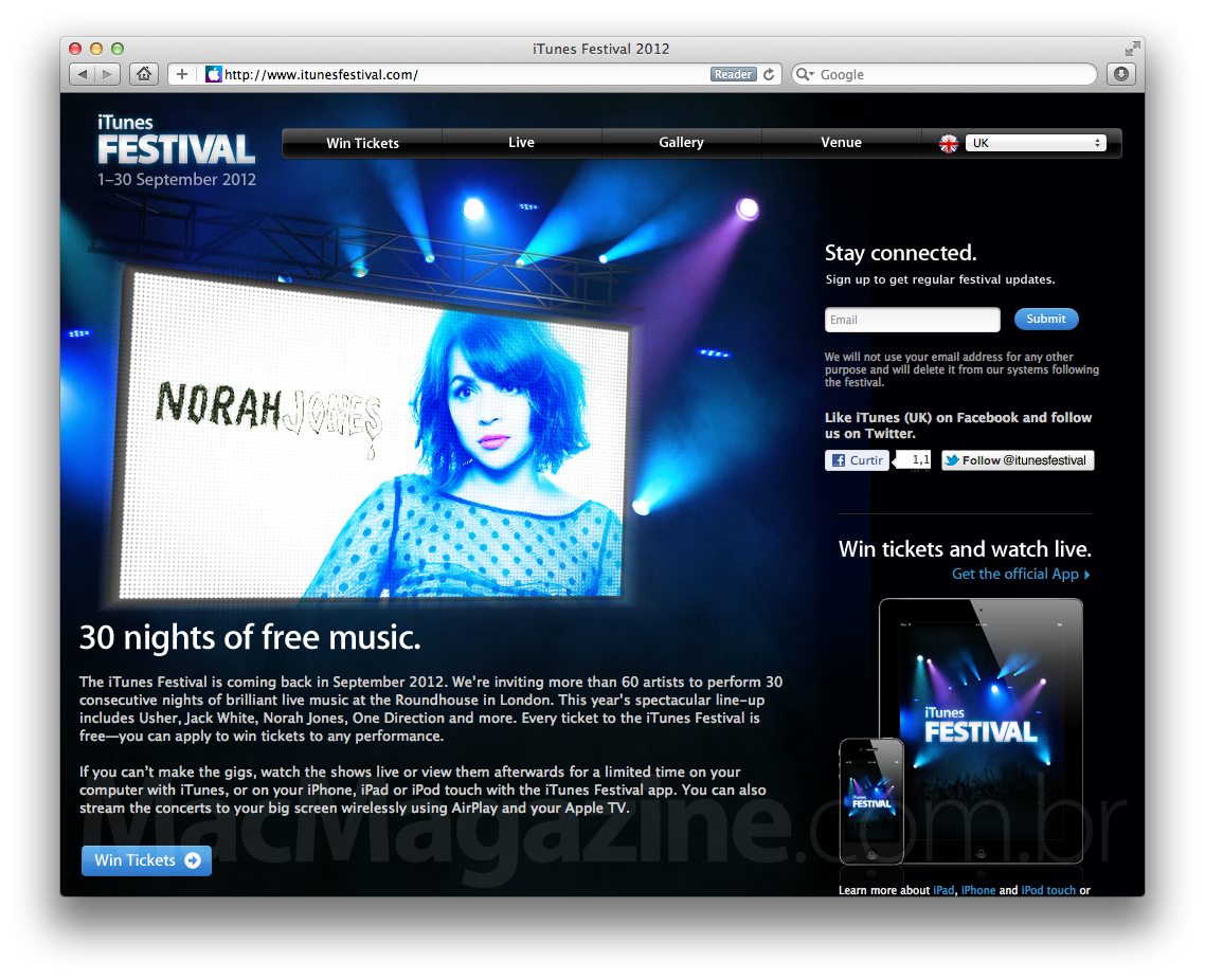 Site do iTunes Festival 2012