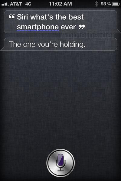 Siri respondendo corretamente pergunta sobre melhor smartphone