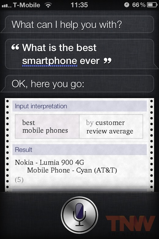 Siri falando do Nokia Lumia 900
