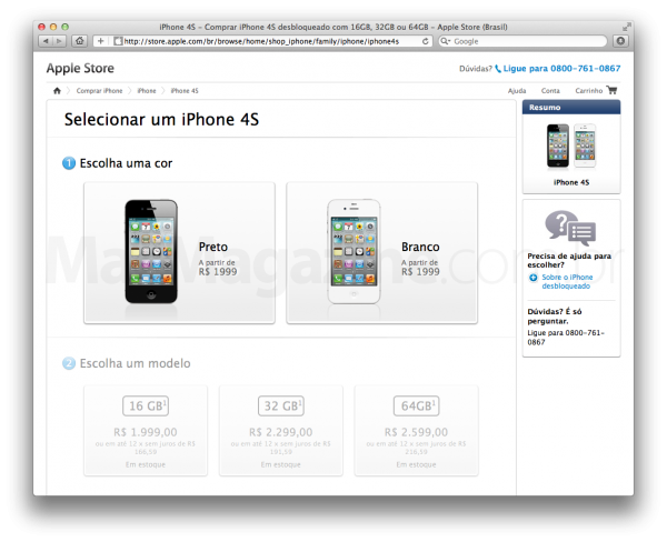 Preços do iPhone 4S na Apple Online Store
