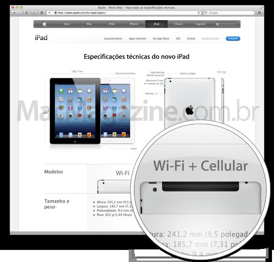 iPad Wi-Fi e Cellular no Brasil
