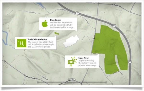 Mapa do data center da Apple