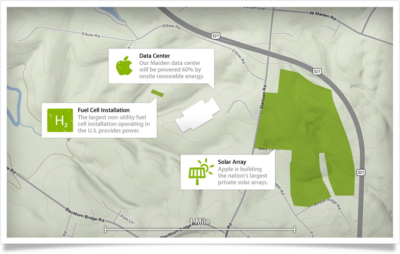 Mapa do data center da Apple