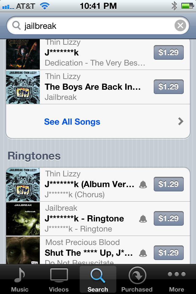 Palavra jailbreak censurada na iTunes Store