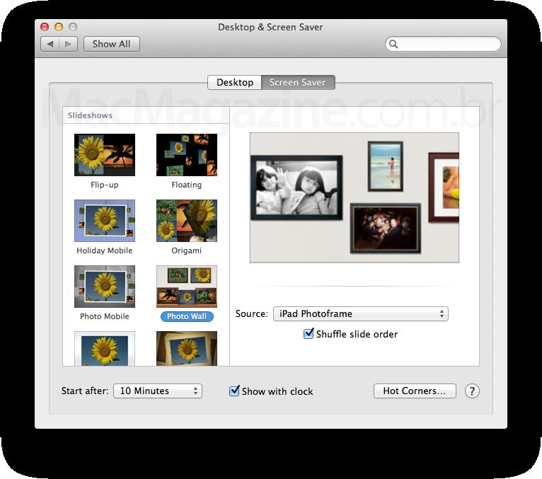 Novos screensavers no OS X Mountain Lion