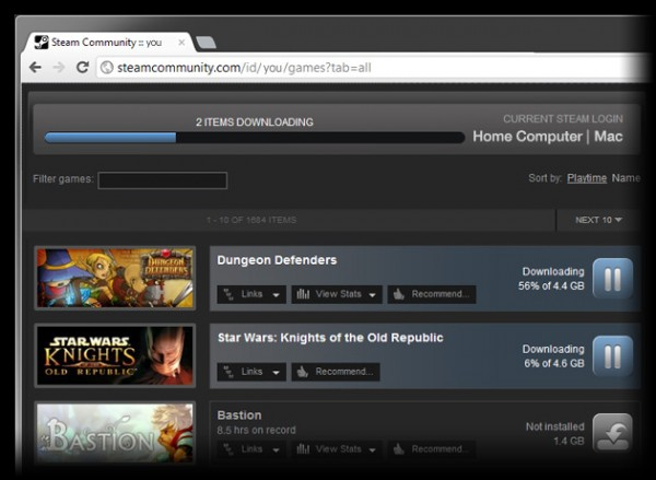 Downloads remotos no Steam