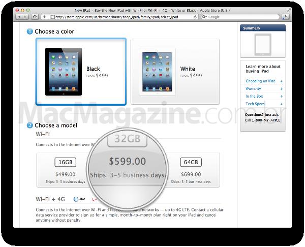 Prazo de entrega do iPad na Apple Online Store americana