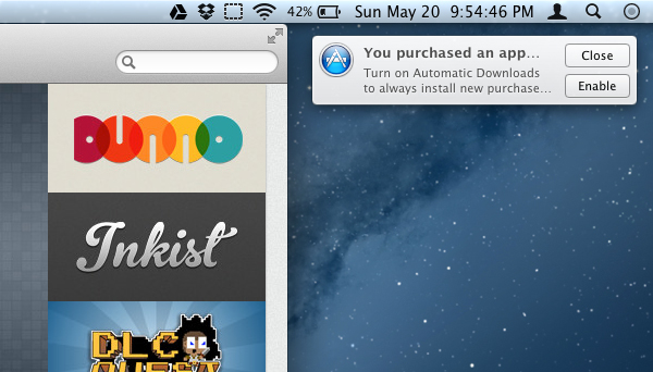 Automatic downloads no OS X Mountain Lion