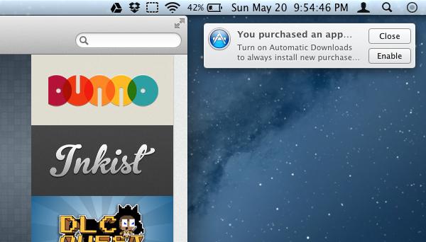 Automatic downloads no OS X Mountain Lion