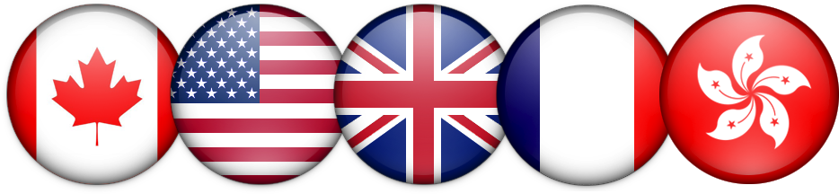 Bandeiras do Canadá, dos Estados Unidos, do Reino Unido, da França e de Hong Kong