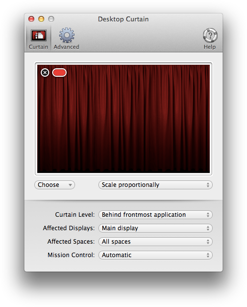 Nova interface do Desktop Curtain para Mac