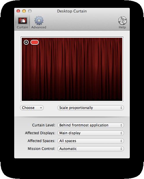 Nova interface do Desktop Curtain para Mac