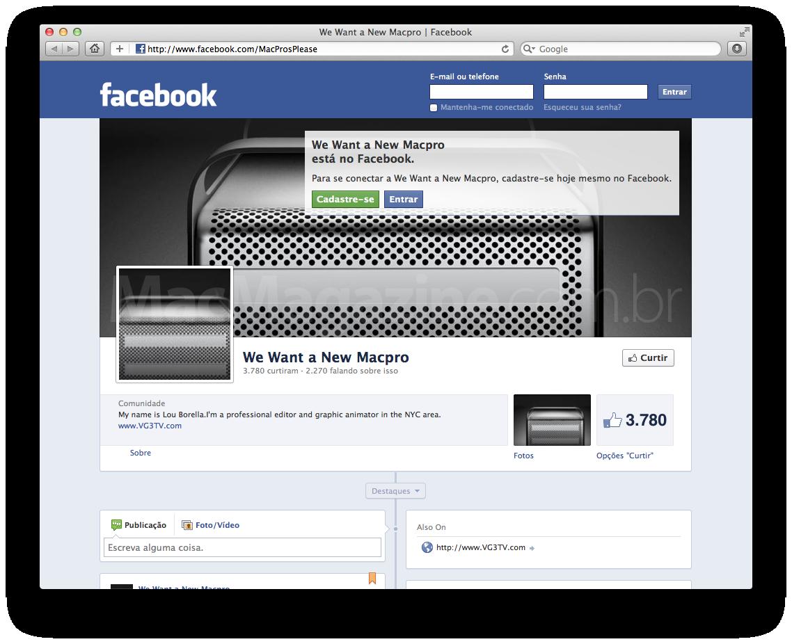 Página pedindo por um novo Mac Pro no Facebook