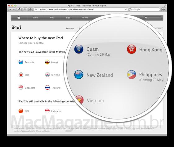 Novos países onde o iPad está chegando