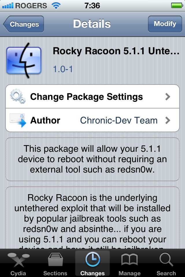 Rocky Racoon no Cydia