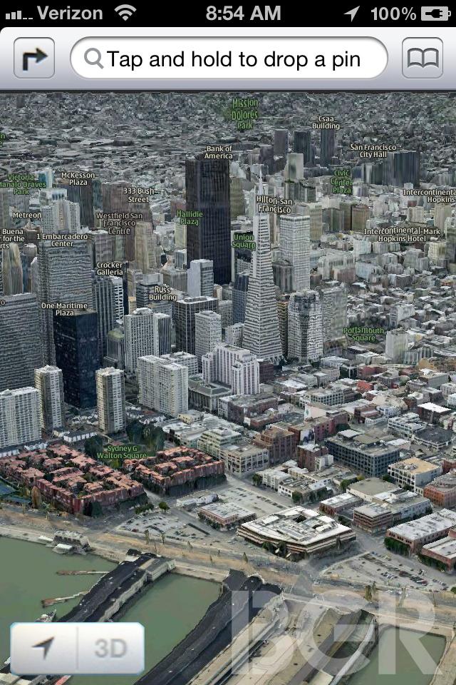 Mapa 3D no iOS 6