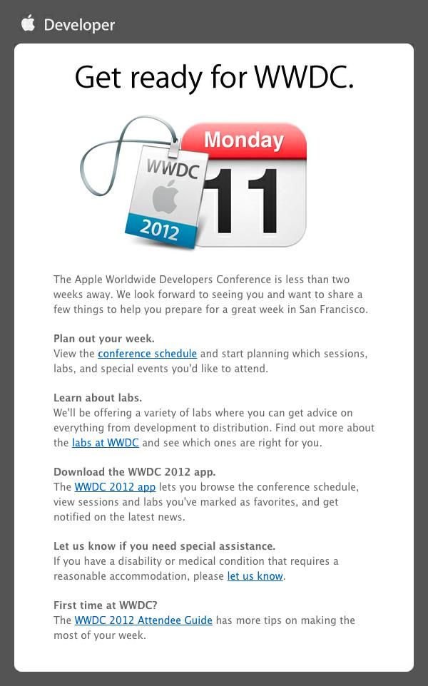 Email de preparação para a WWDC