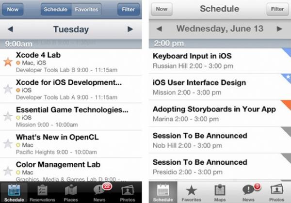 Comparativo dos apps da WWDC