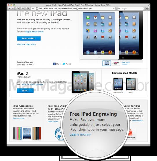 Gravação a laser em iPads