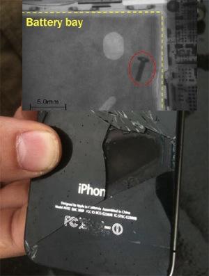 Raio-x de um iPhone que entrou em combustão