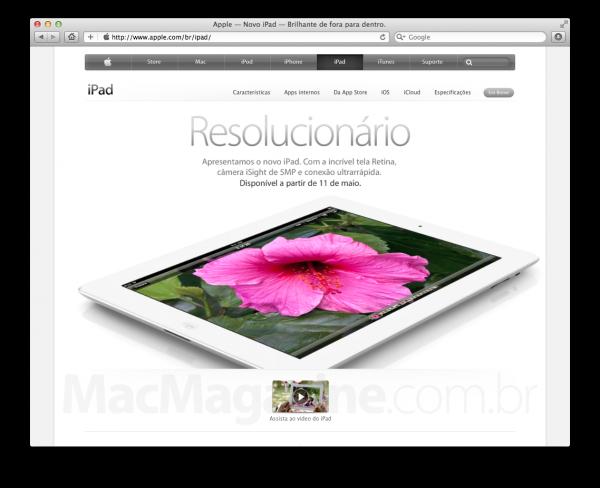 Página brasileira do novo iPad