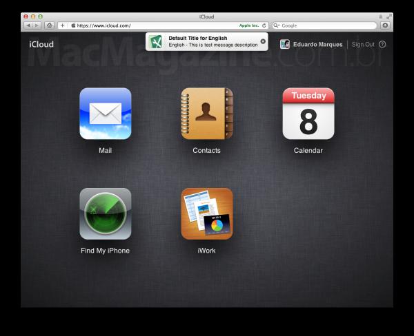 Notificações no site do iCloud