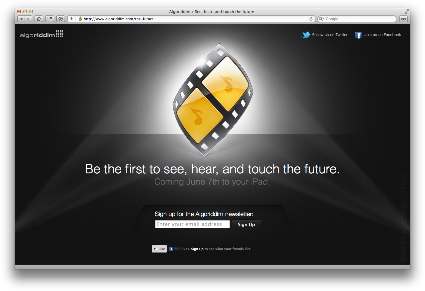 Teaser de novo app para iPad da algoriddim